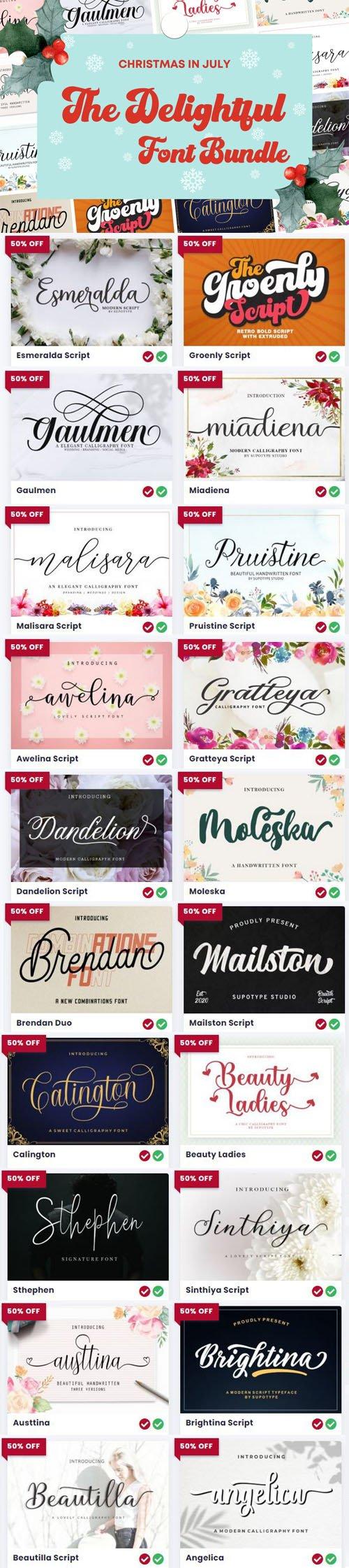The Delightful Font Bundle - 20 Premium Fonts