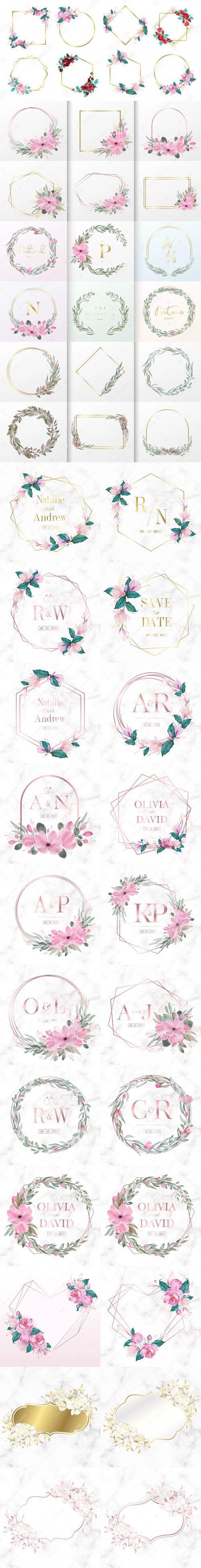 Watercolor Floral Frames for Wedding Monogram Vector Collection - 25 EPS