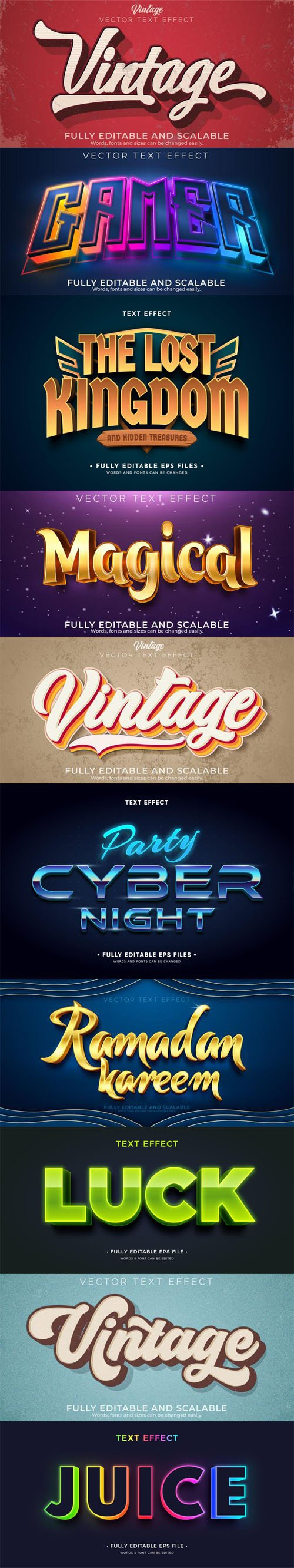 10 Creative Text Effects Vector Collection