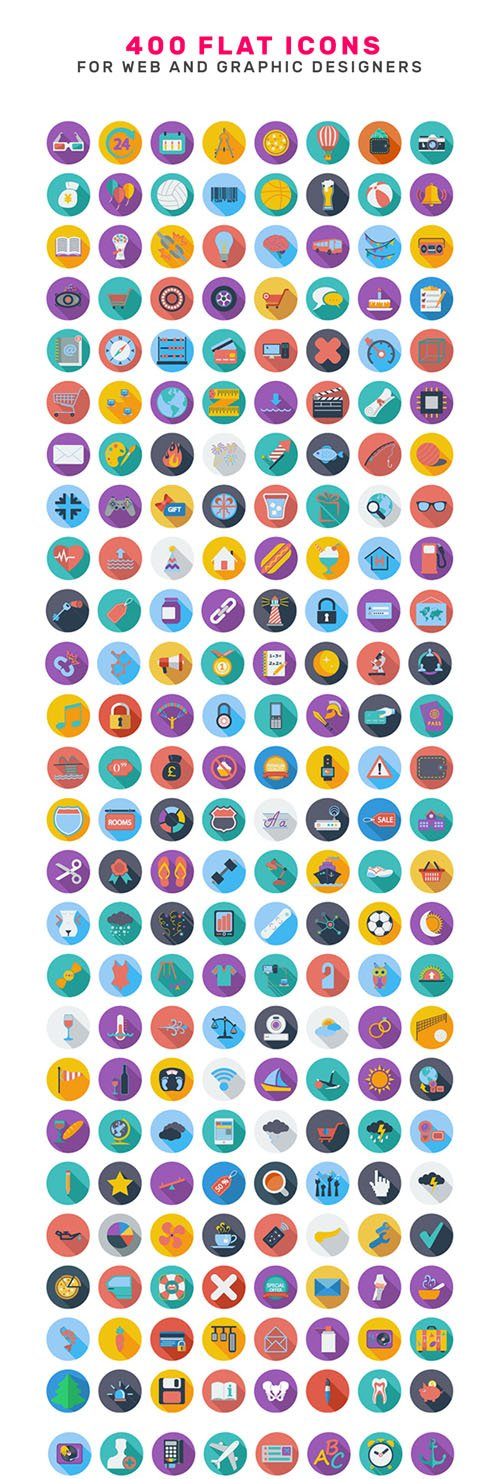 400 Flat Icons for Web & Graphic Designers (for Illustrator)