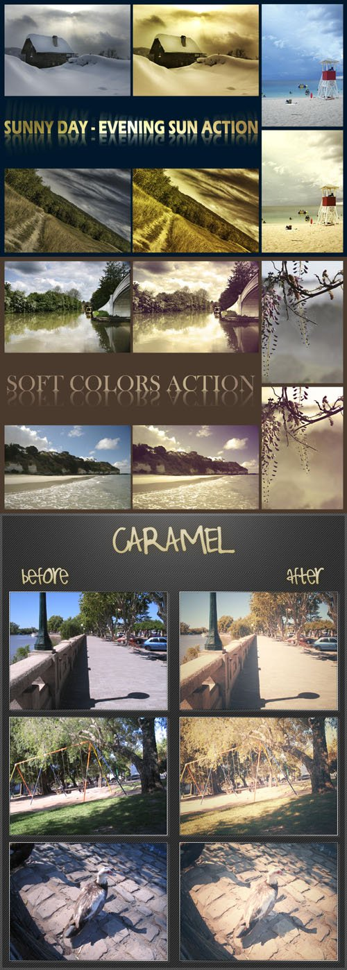 Evening Sun, Soft Colors and Caramel Actions for Photoshop