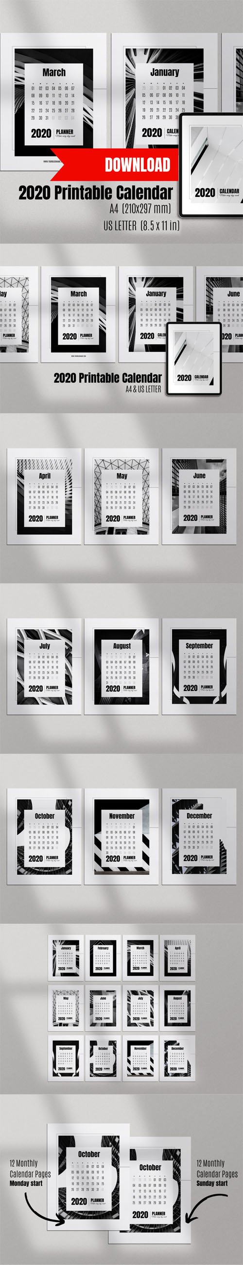 Printable Calendar 2020 PNG Templates [A4/US Letter]