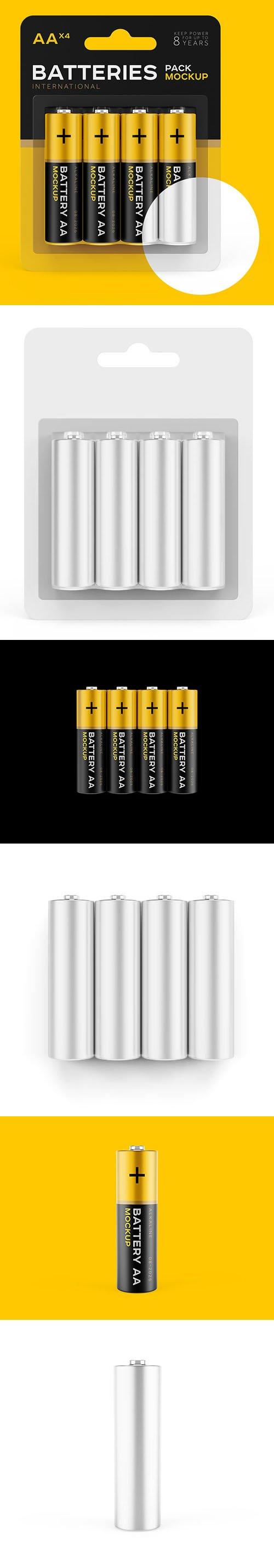 AAx4 Batteries Pack PSD Mockups Templates