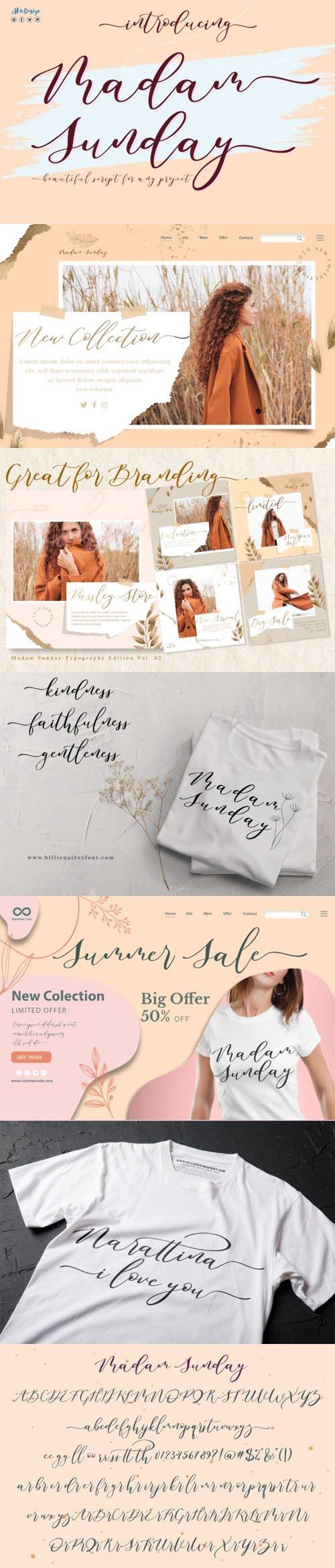 Madam Sunday - Romantic Calligraphy Typeface [2-Weights]