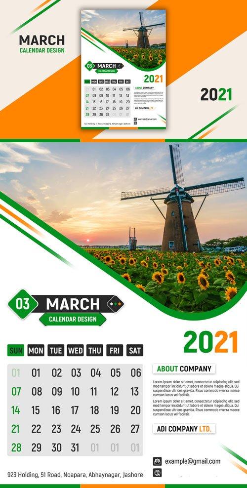Calendar 2021 Design PSD Template