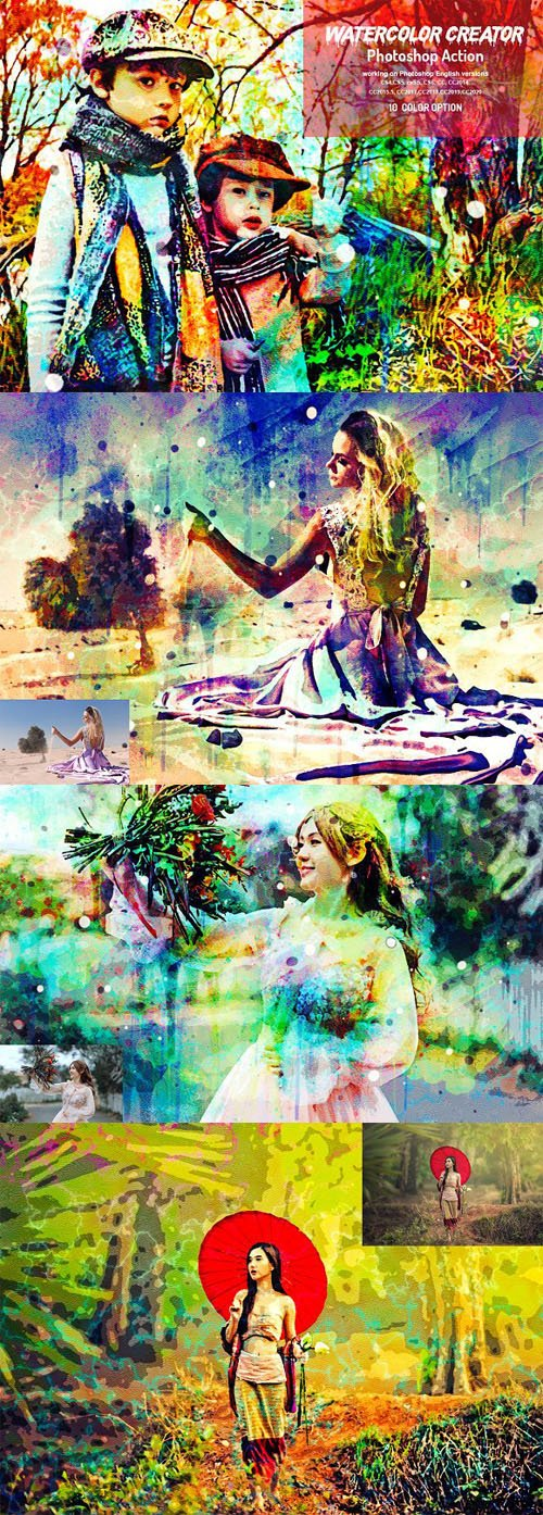 Watercolor Creator Action for Photoshop + Brushes