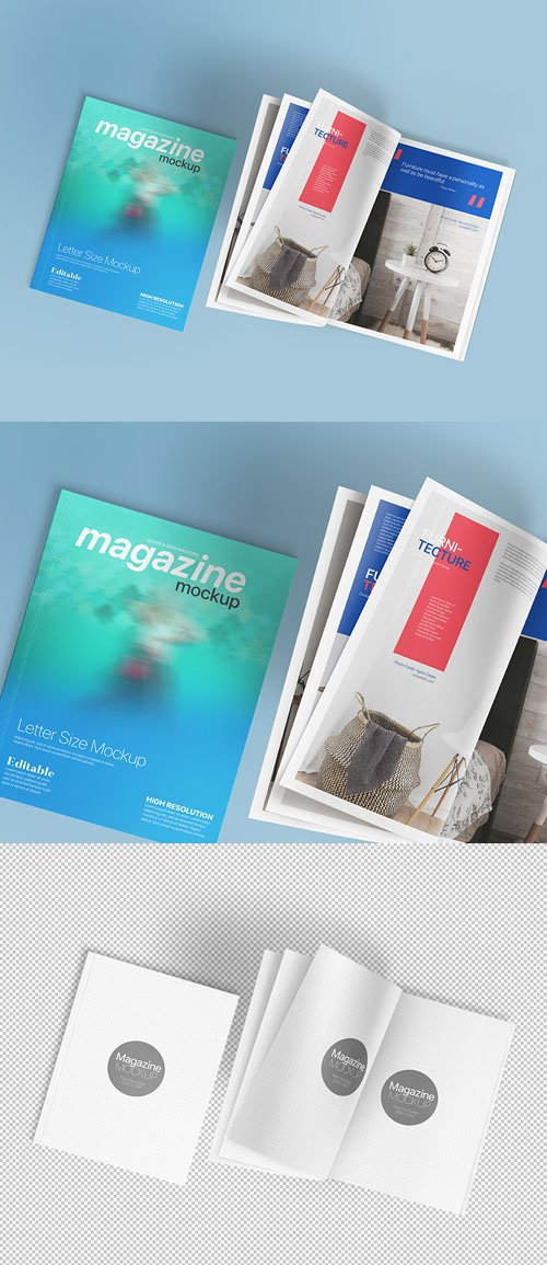 Realistic US-Letter Magazine PSD Mockup Template