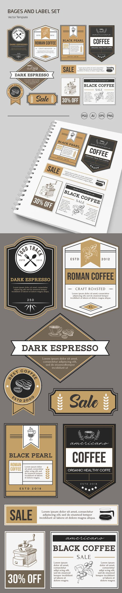 10 Bages & Labels (Ai/EPS/PSD) Templates Dedicated to Cafes & Restaurants