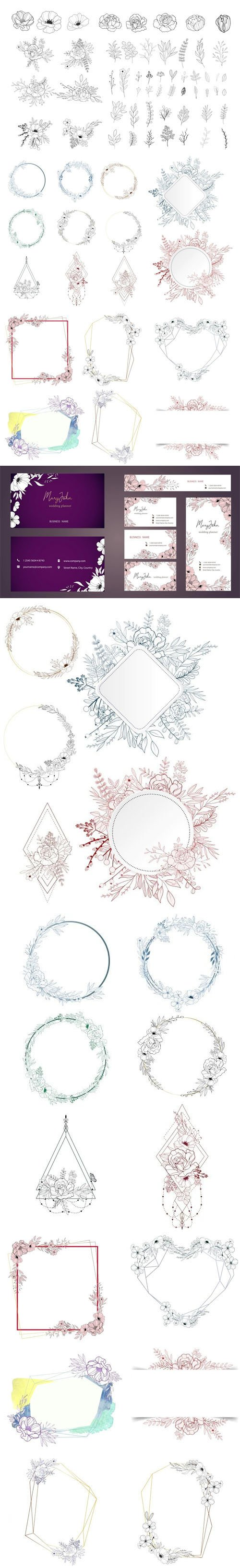 Hand Drawn Floral Vector Collection