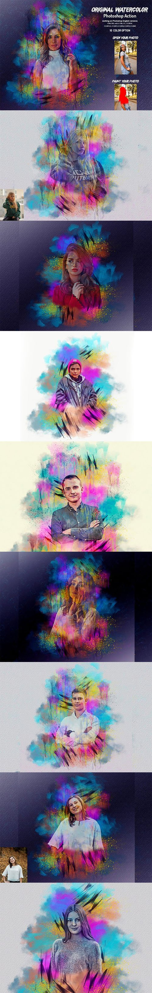 Original Watercolor Action for Photoshop + Brushes