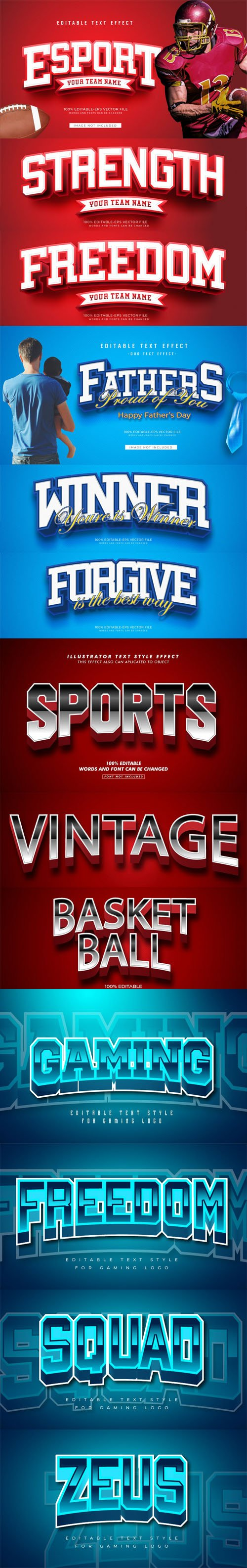 Sport & Gaming Text Effects Vector Collection