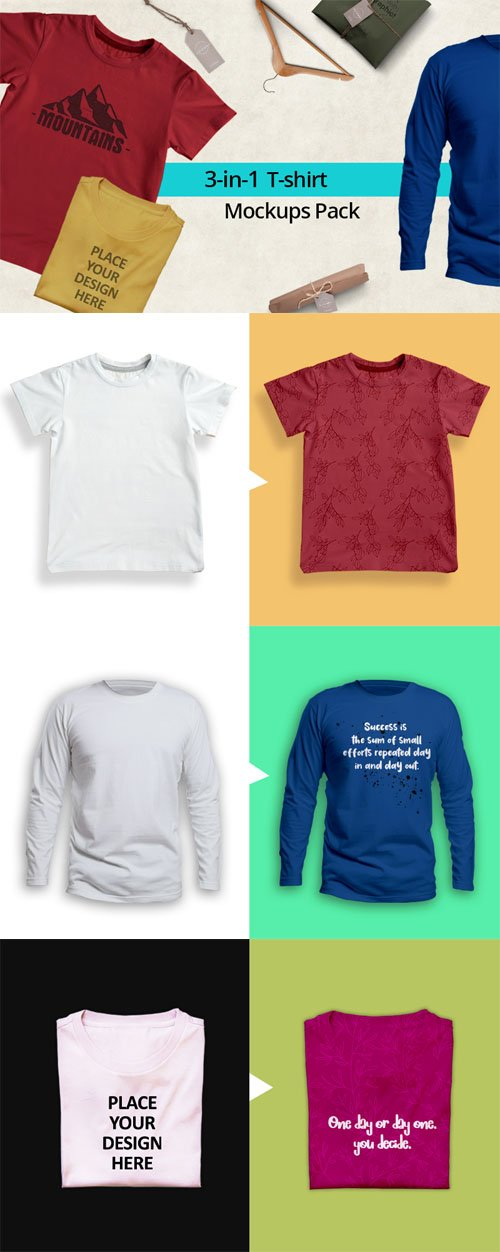 3in1 T-shirt PSD Mockups Pack