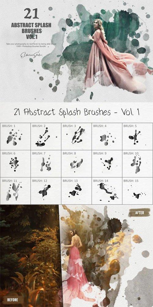21 Abstract Splash Photoshop Brushes Vol.1