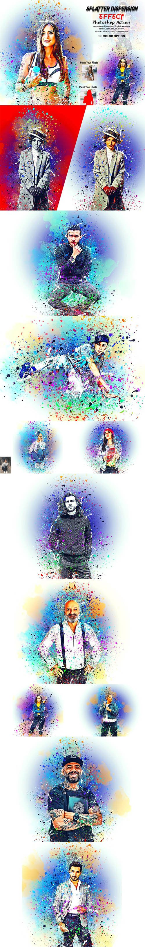 Splatter Dispersion Effect Action for Photoshop + Brushes