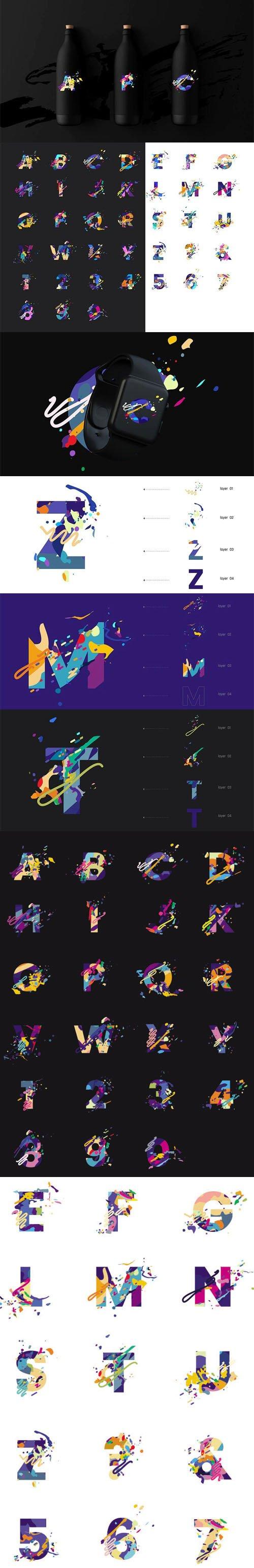 Splash Letter Fonts Vector Templates