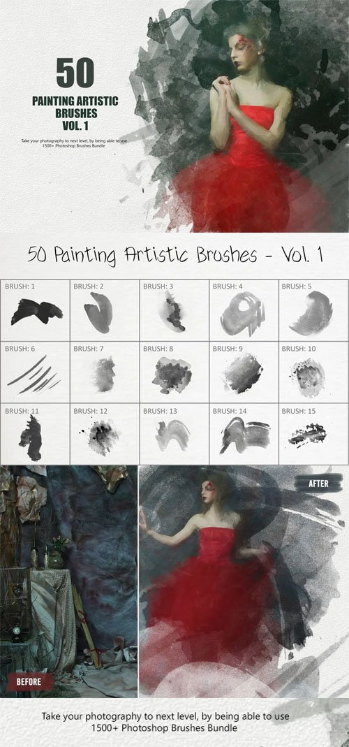 50 Painting Artistic Photoshop Brushes Vol.1