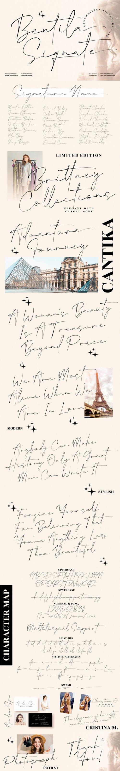 Bentila Signate - Handwritten Signature Font [2-Weights]