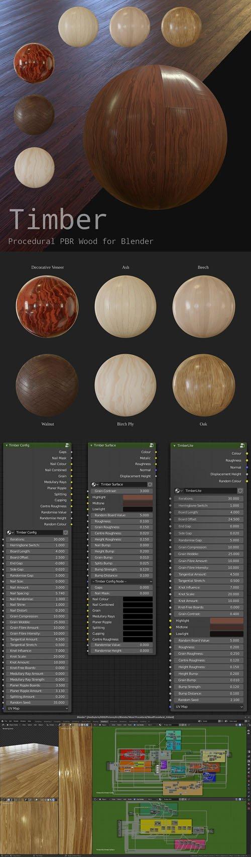 Timber 0.1 (Lite/Pro) - Procedural Wood Material for Blender 2.80