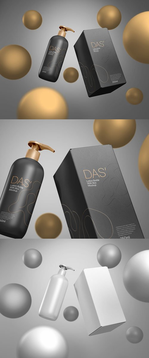 Lotion Bottle for Skincare with Box PSD Mockup Template