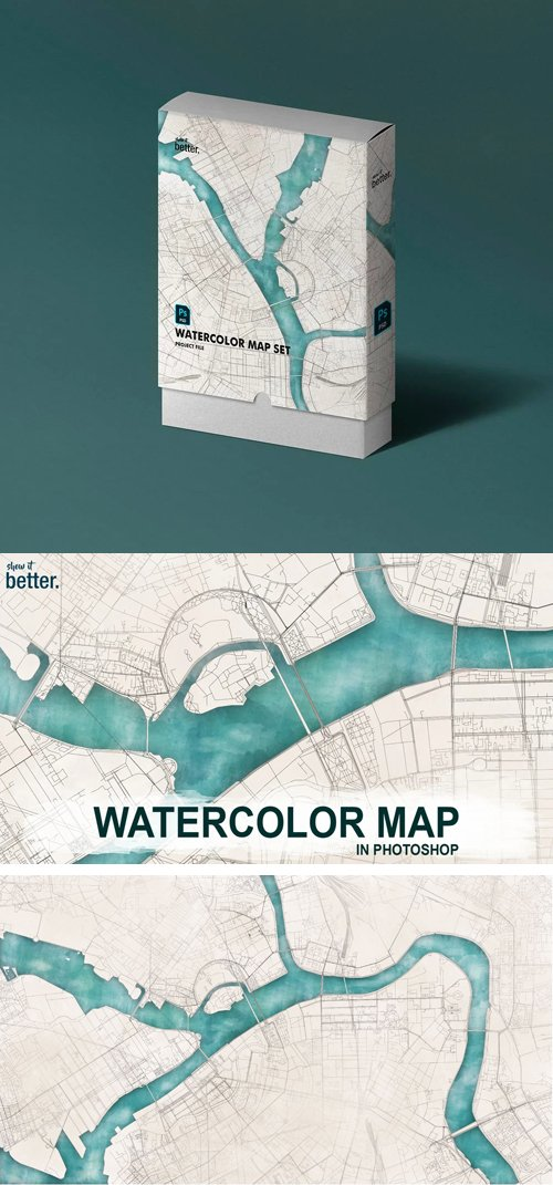 Watercolor Map - Photoshop Package [PSD/ABR/DXF]