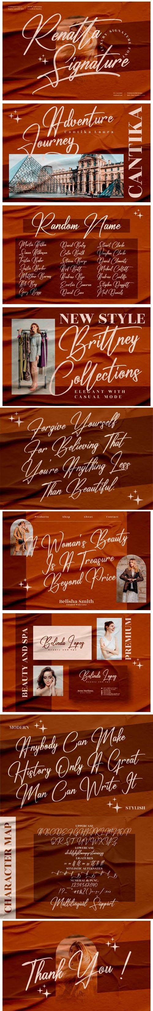 Renatta Signature - Luxury Signature Font [2-Weights]