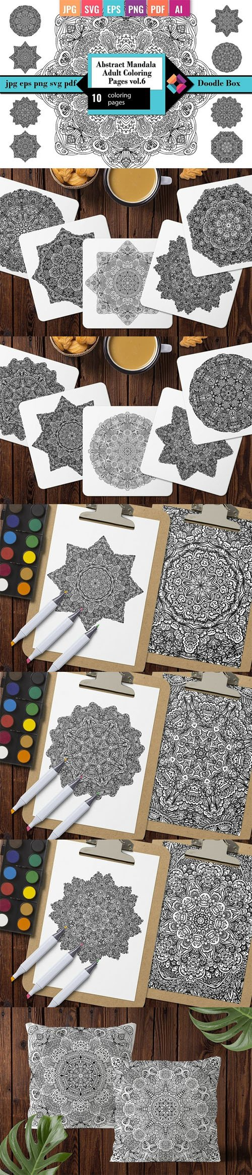 Antistress Mandala Adult Coloring Pages - 10 Coloring Pages