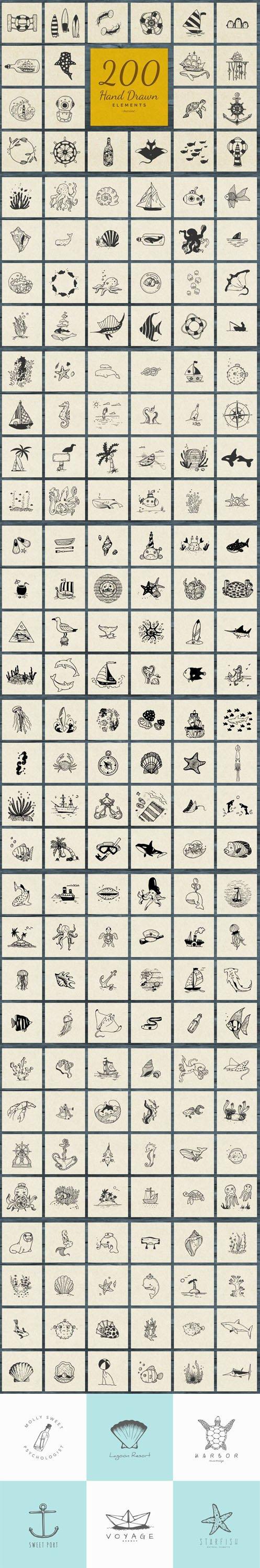 200+ Hand Drawn Elements