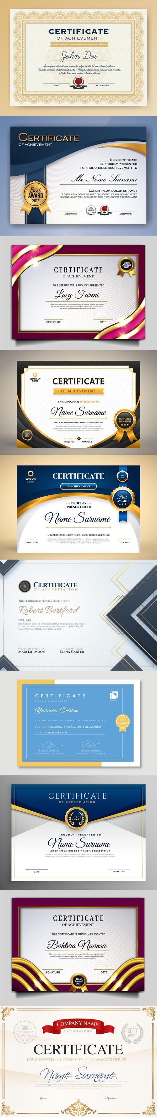 10 Professional Certificates Design Vector Templates