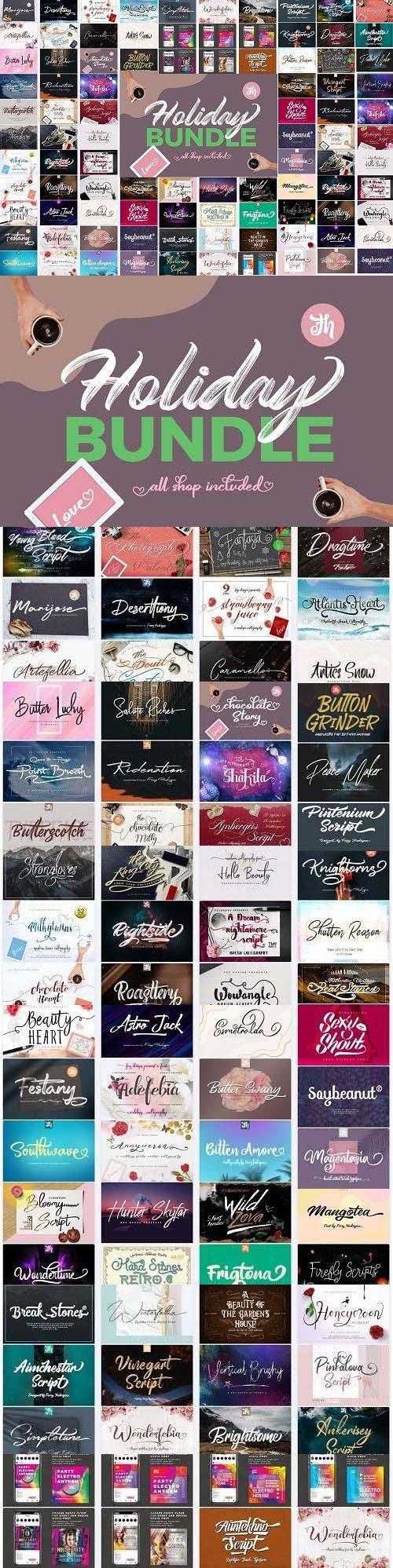 Holiday Bundle - 69 Premium Fonts & 6 Premium Graphics