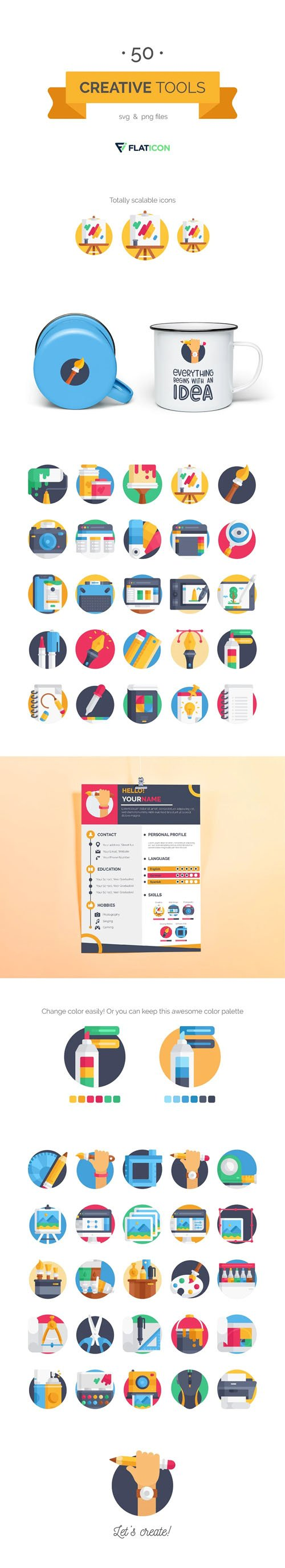 50 Creative Tools Icon Pack [PNG/SVG]