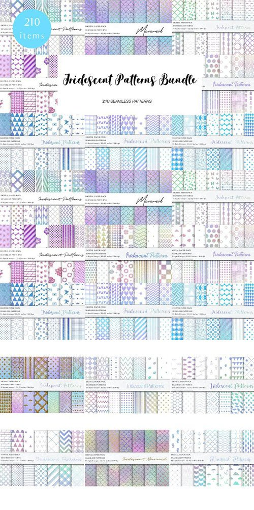 Iridescent Seamless Patterns Bundle - 210 Patterns