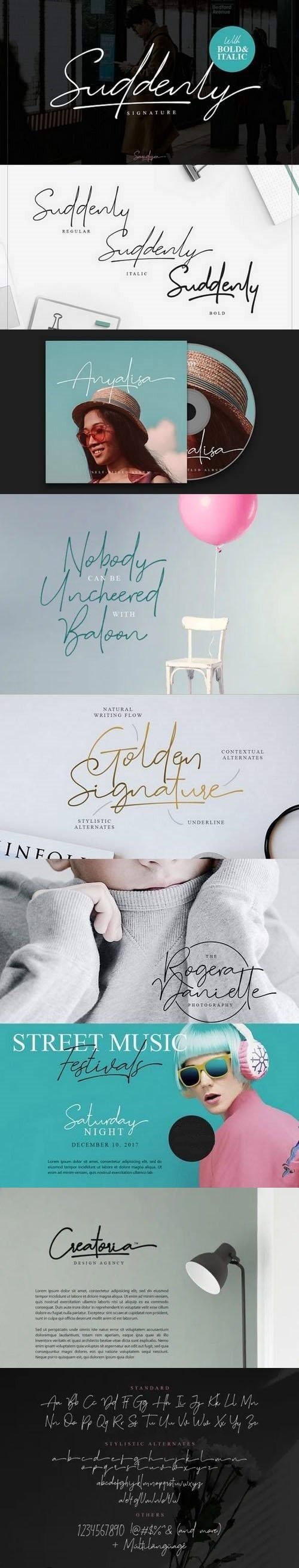 Suddenly Signature Font Family [3-Weights]