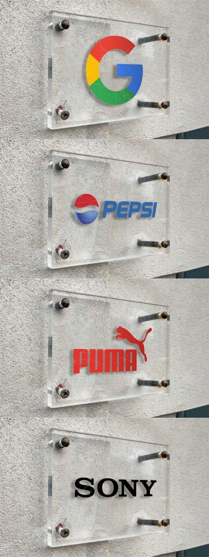Glass Board Logo PSD Mockup Template