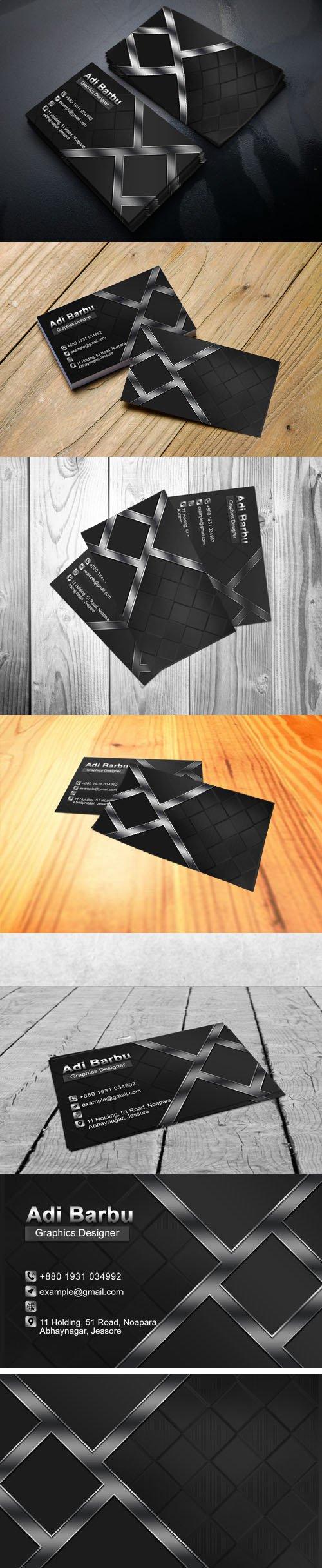 Dark Business Card Design PSD Template