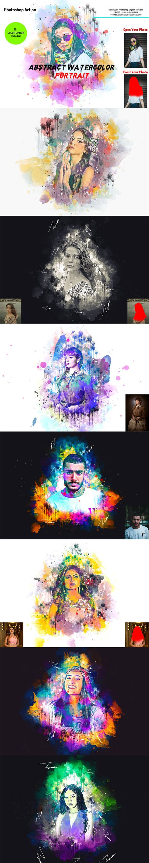 Abstract Watercolor Portrait Action for Photoshop + Brushes