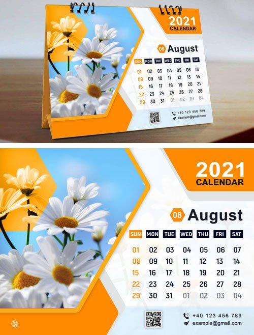 Orange Calendar 2021 Design PSD Template