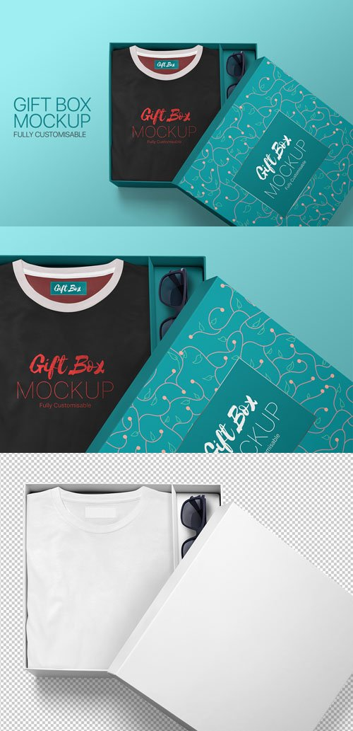 Fully Customisable Gift Box PSD Mockup Template