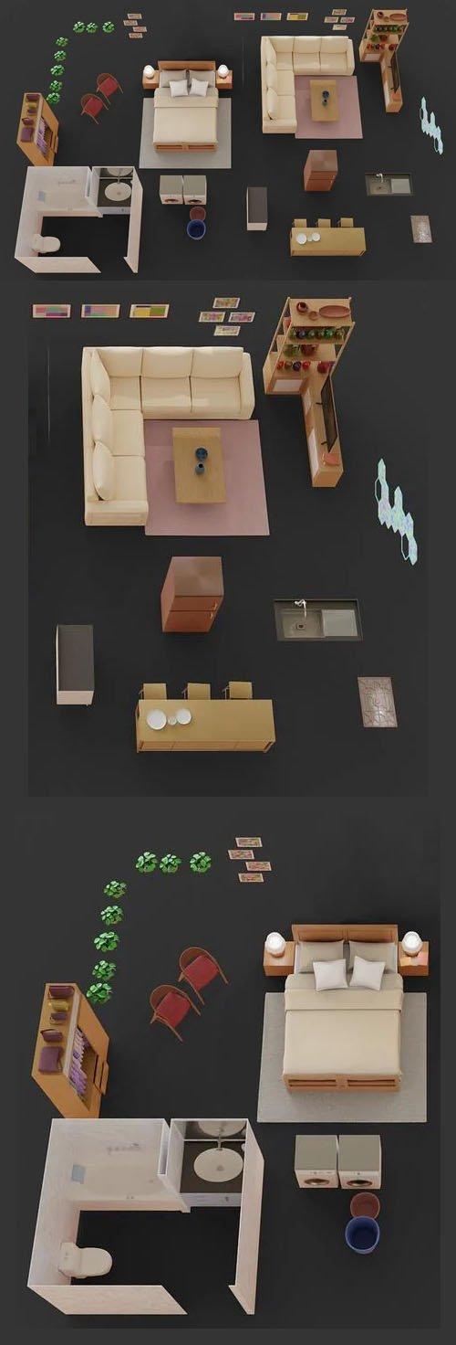 Set of Models for 3D Floor Plan in Blender