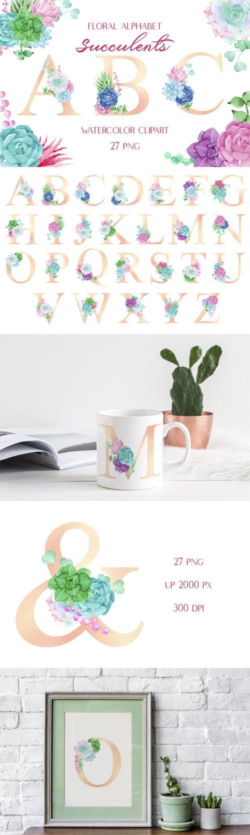 Watercolor Clipart - Floral Alphabet Succulents