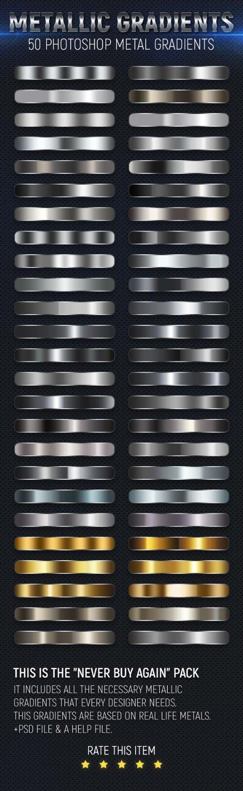 Metallic Gradients - 50 Photoshop Metal Gradients