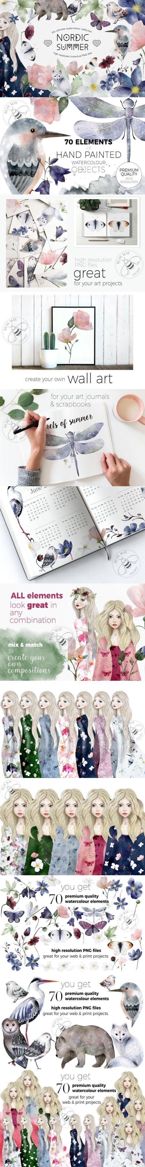 Nordic Summer - 70 Premium Quality Watercolor Ink Elements
