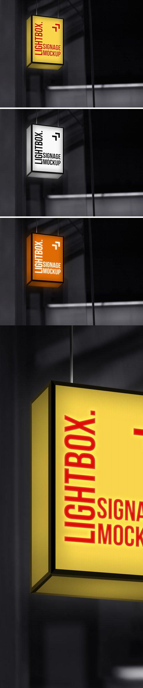 Hanging Neon Lightbox Signage PSD Mockup Template