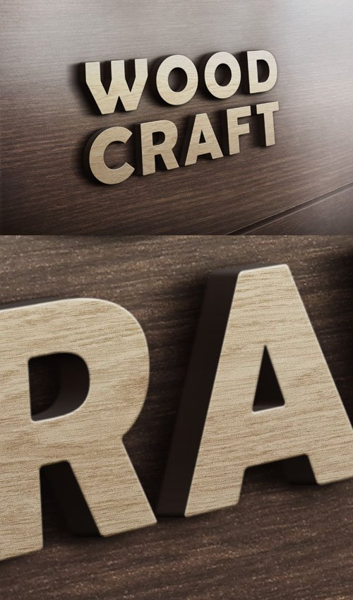 3D Wood Craft Logo PSD Mockup Template