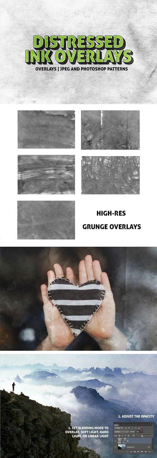 5 Distressed Ink Overlays