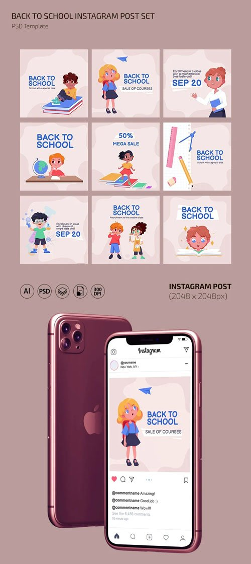 Back to School - 9 Instagram Post PSD Templates + Vectors