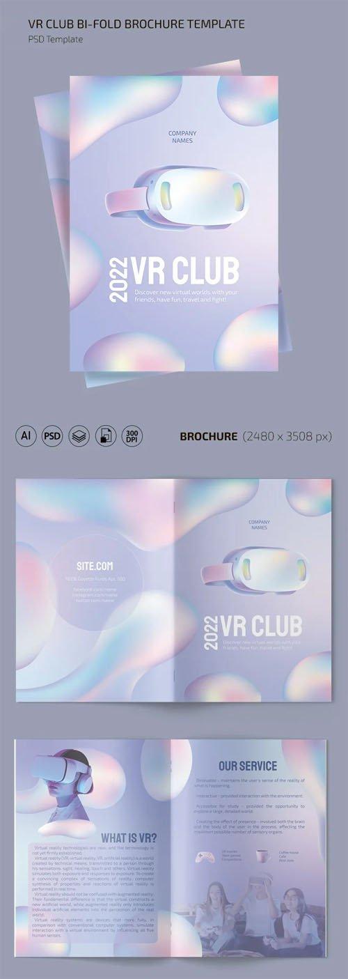 VR Club Brochure - Bi-Fold PSD Template + Ai