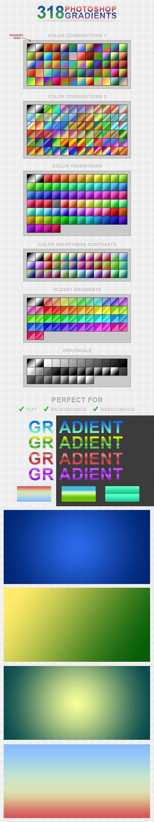 300+ Photoshop Gradients in 6 Categories