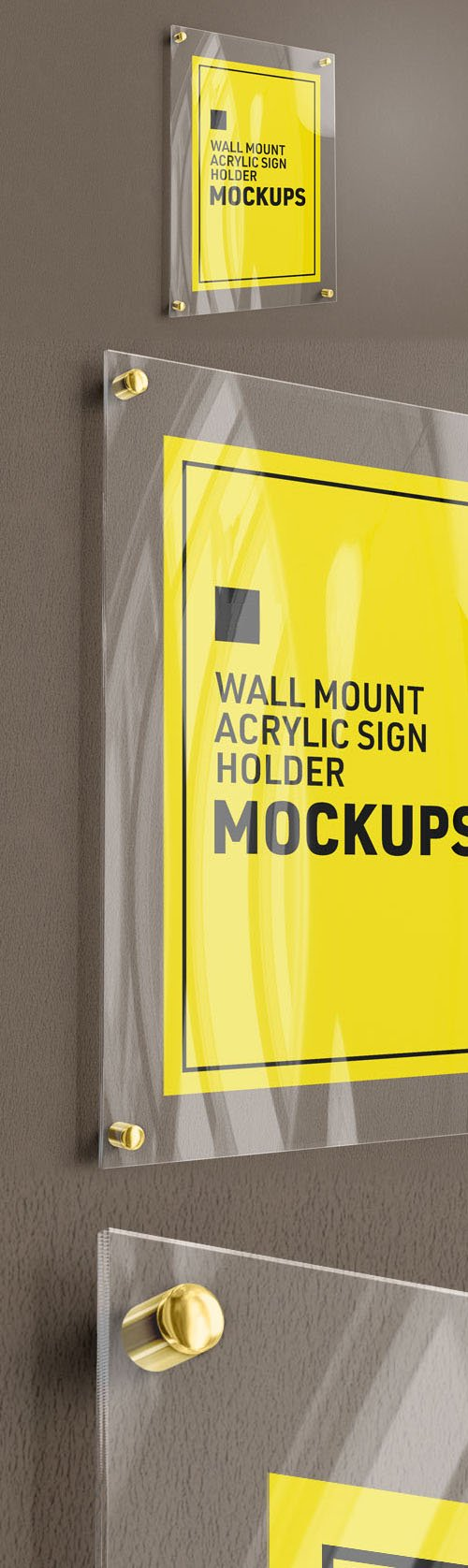 Wall Mount Glass Sign Holder PSD Mockup Template