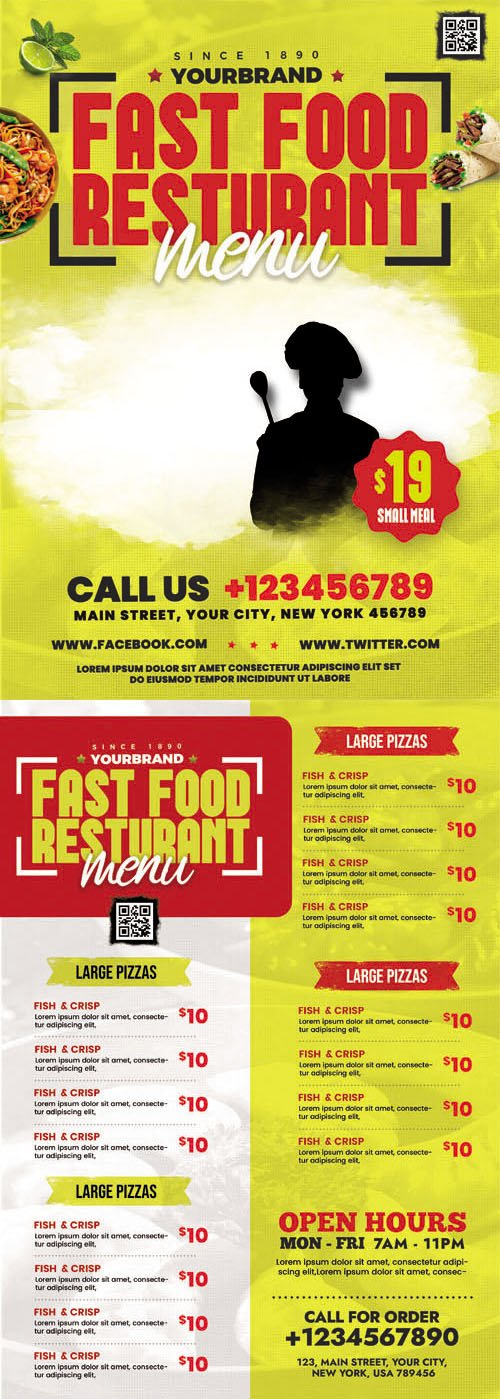 5 Different Restaurant Food Menu PSD Templates