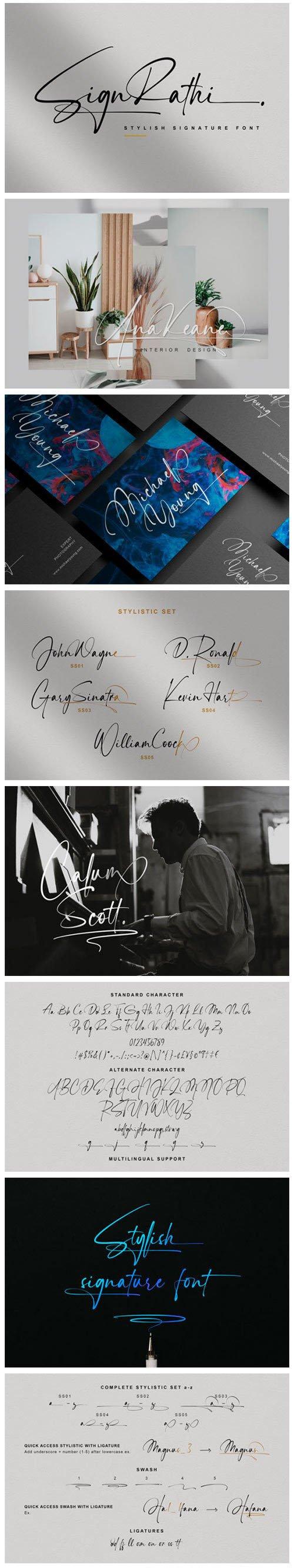 Sign Rathi Script - Stylish Signature Font